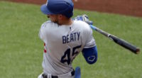 Los Angeles Dodgers infielder Matt Beaty collects a hit against the Pittsburgh Pirates