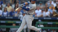 Los Angeles Dodgers infielder Matt Beaty leads off with a hit against the Pittsburgh Pirates