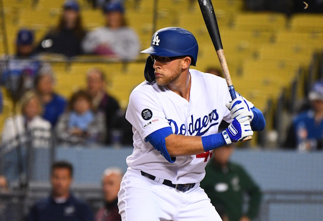 Los Angeles Dodgers infielder Matt Beaty at bat against the New York Mets