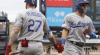 Los Angeles Dodgers teammates Matt Beaty and Alex Verdugo celebrate during a game at PNC Park