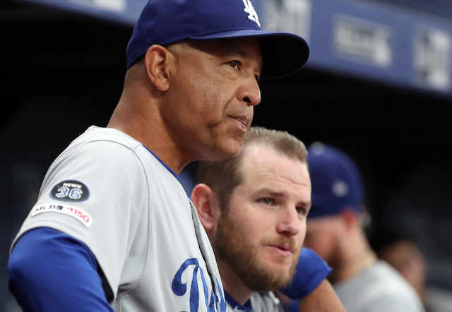 Los Angeles Dodgers manager Dave Roberts with Max Muncy