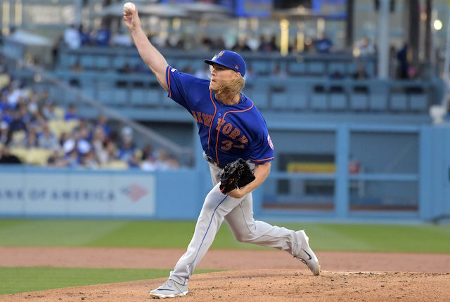 New York Mets pitcher Noah Syndergaard against the Los Angeles Dodgers