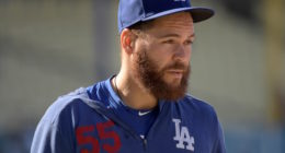 Los Angeles Dodgers catcher Russell Martin during batting practice at Dodger Stadium