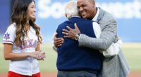 Former Los Angeles Dodgers manager Tommy Lasorda attends the Texas Rangers jersey retirement ceremony for Adrian Beltre