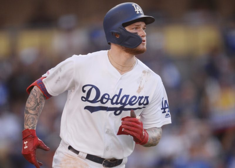 Los Angeles Dodgers outfielder Alex Verdugo runs the bases after hitting a home run