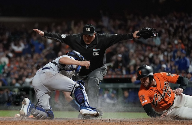 Los Angeles Dodgers catcher Austin Barnes against the San Francisco Giants