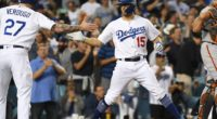 Los Angeles Dodgers outfielder Alex Verdugo greets Austin Barnes after a home run against the San Francisco Giants