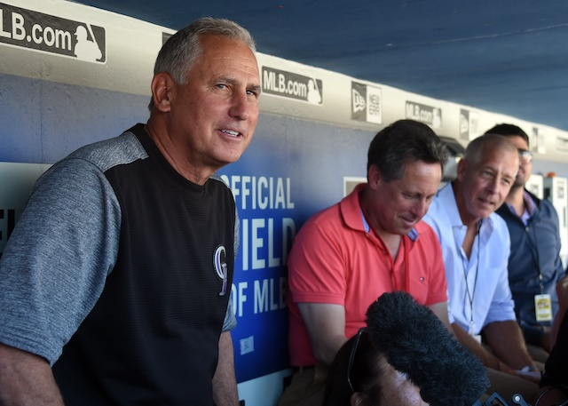 Colorado Rockies manager Bud Black in the dugout at Dodger Stadium