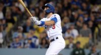 Los Angeles Dodgers shortstop Chris Taylor hits a home run against the San Francisco Giants