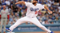 Los Angeles Dodgers starting pitcher Clayton Kershaw against the Philadelphia Phillies