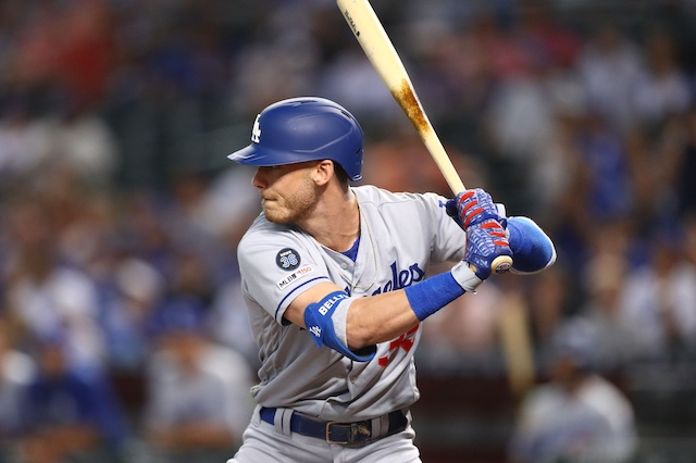 Los Angeles Dodgers right fielder Cody Bellinger at bat against the Arizona Diamondbacks