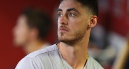 Los Angeles Dodgers right fielder Cody Bellinger in the dugout at Chase Field