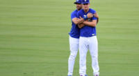 Los Angeles Dodgers teammates Cody Bellinger and Andre Ethier prior to a 2017 World Series game