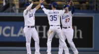 Cody Bellinger, Joc Pederson and Alex Verdugo celebrate a Los AngelesDodgers win against the Philadelphia Phillies