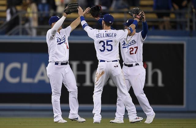Cody Bellinger, Joc Pederson and Alex Verdugo celebrate a Los AngelesDodgers win against the Philadelphia Phillies