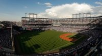 General view of Coors Field during a game between the Los Angeles Dodgers and Colorado Rockies