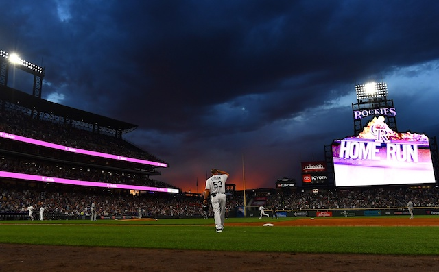 46456032 General view of Coors Field during a game between the Los Angeles Dodgers  and Colorado Rockies