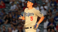 Los Angeles Dodgers shortstop Corey Seager hits a double against the Los Angles Angels of Anaheim