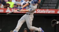 Los Angeles Dodgers shortstop Corey Seager hits a double against the Los Angeles Angels of Anaheim