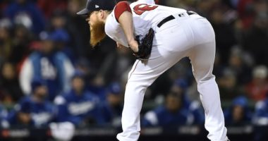 Boston Red Sox closer Craig Kimbrel against the Los Angeles Dodgers during the 2018 World Series
