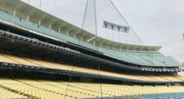 General view of the netting along the dugout at Dodger Stadium