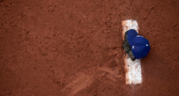 View of a Los Angeles Dodgers cap on the mound in the bullpen at Dodger Stadium
