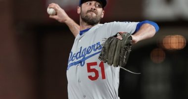 Los Angeles Dodgers relief pitcher Dylan Floro against the San Francisco Giants