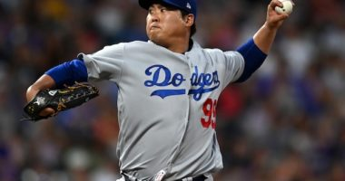 Los Angeles Dodgers starting pitcher Hyun-Jin Ryu against the Colorado Rockies