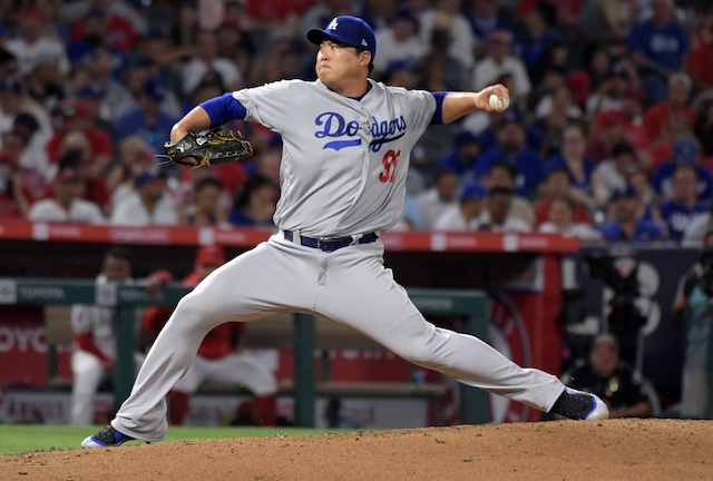 Los Angeles Dodgers starting pitcher Hyun-Jin Ryu against the Los Angeles Angels of Anaheim