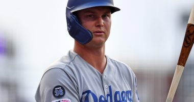 Los Angeles Dodgers outfielder Joc Pederson waits on deck at Coors Field