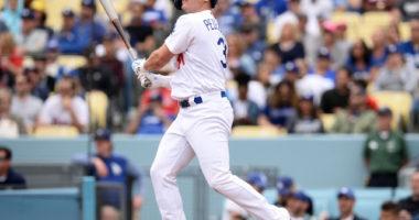Los Angeles Dodgers outfielder Joc Pederson hits a home run against the Philadelphia Phillies