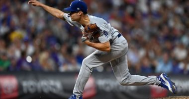 Los Angeles Dodgers relief pitcher Joe Kelly against the Colorado Rockies
