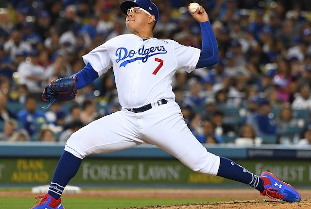 Los Angeles Dodgers pitcher Julio Urias against the San Francisco Giants