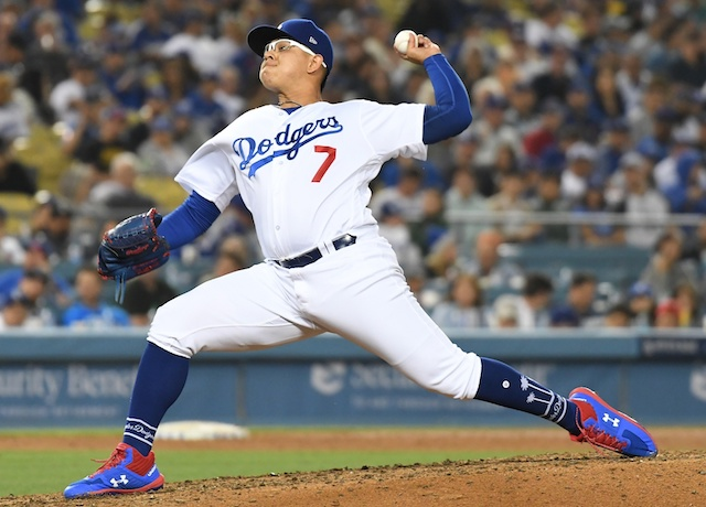Los Angeles Dodgers pitcher Julio Urias against the Chicago Cubs