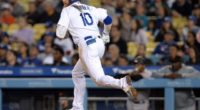 Los Angeles Dodgers third baseman Justin Turner watches a single at Dodger Stadium