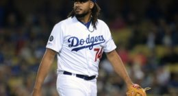 Los Angeles Dodgers closer Kenley Jansen reacts after allowing a home run to Chicago Cubs first baseman Anthony Rizzo
