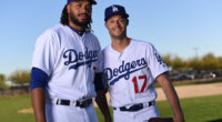 Los Angeles Dodgers relief pitchers Kenley Jansen and Joe Kelly on Photo Day during 2019 Spring Training at Camelback Ranch