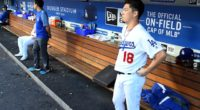 Los Angeles Dodgers starting pitcher Kenta Maeda in the dugout at Dodger Stadium