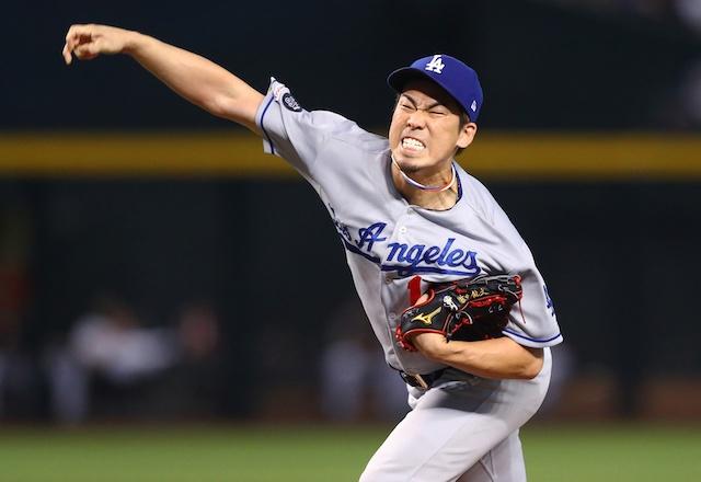 Los Angeles Dodgers starting pitcher Kenta Maeda against the Arizona Diamondbacks