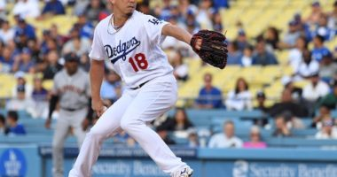 Los Angeles Dodgers starting pitcher Kenta Maeda against the San Francisco Giants
