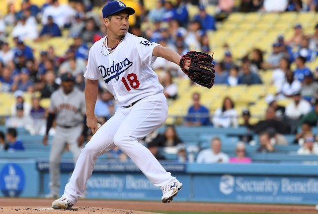 Los Angeles Dodgers starting pitcher Kenta Maeda against the San Francisco Giants