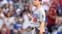 Los Angeles Dodgers starting pitcher Kenta Maeda reacts after allowing a home run against the Los Angeles Angels of Anaheim