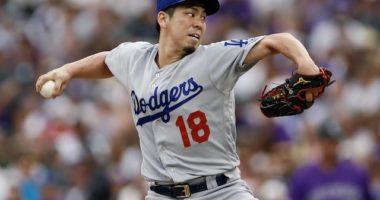 Los Angeles Dodgers starting pitcher Kenta Maeda against the Colorado Rockies