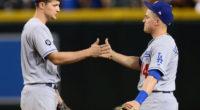 Los Angeles Dodgers teammates Kiké Hernandez and Corey Seager celebrate a win against the Arizona Diamondbacks