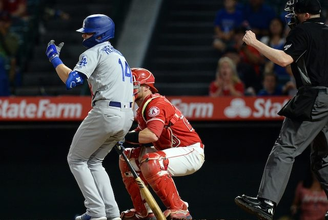 Los Angeles Dodgers second baseman Kiké Hernandez reacts after striking out against the Los Angeles Angels of Anaheimz 6