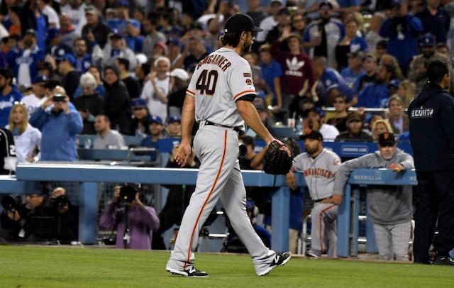 San Francisco Giants pitcher Madison Bumgarner walks off the field at Dodger Stadium
