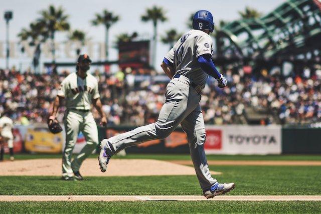 San Francisco Giants pitcher Madison Bumgarner yells at Los Angeles Dodgers infielder Max Muncy