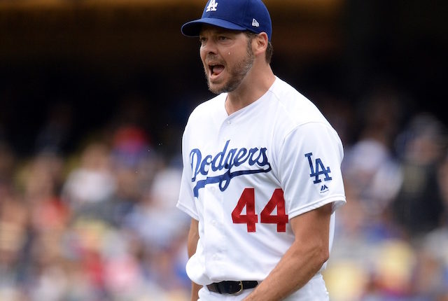 Los Angeles Dodgers starting pitcher Rich Hill reacts during a game against the Philadelphia Phillies