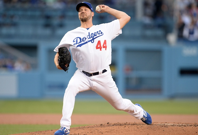Los Angeles Dodgers starting pitcher Rich Hill against the Chicago Cubs