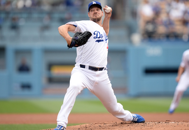 Los Angeles Dodgers starting pitcher Rich Hill against the Philadelphia Phillies